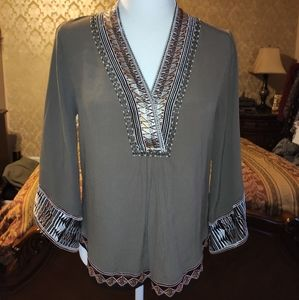 Hale Bob beaded embroidered collar blouse size s